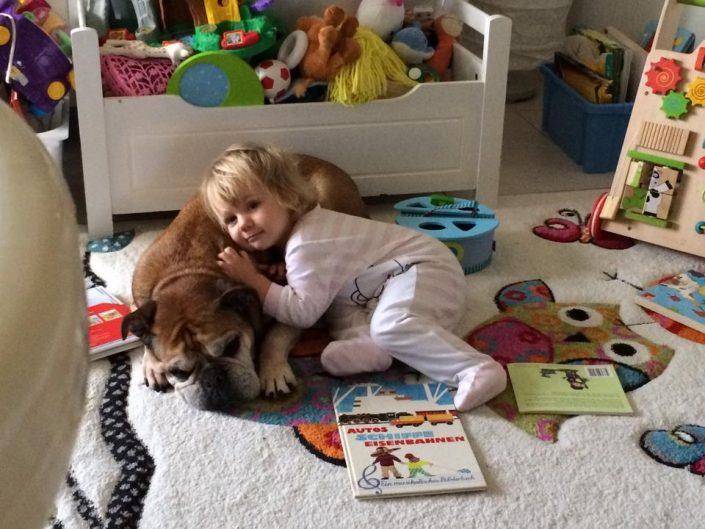 Bulldog kuschelt mit Kleinkind